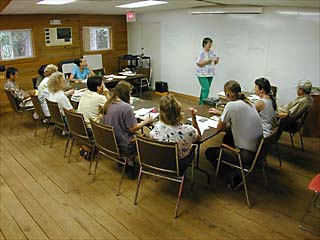 Botany workshop led by Nancy Coile in Boathouse & field - 2000